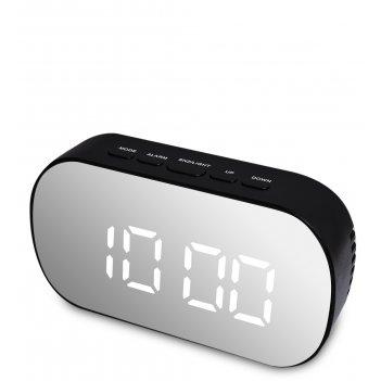 Ял-07-25/3 часы электронные зеркальные (черный с белым циферблатом)