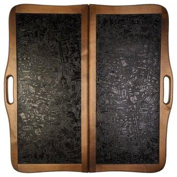 Нарды кожаные египет большие с ручкой (россия, дерево, 60х30х5 см)