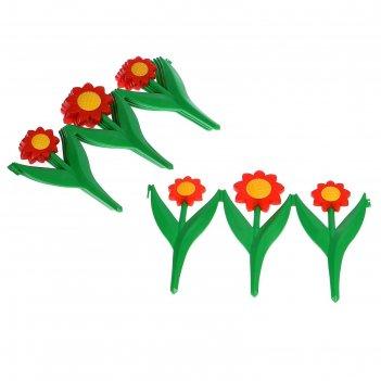 Ограждение декоративное, 32,5 x 225 см, 5 секций, пластик, красный цветок,
