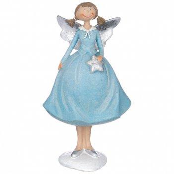 Фигуркаангелочек в голубом платье 11,5*9,5*20,5 см