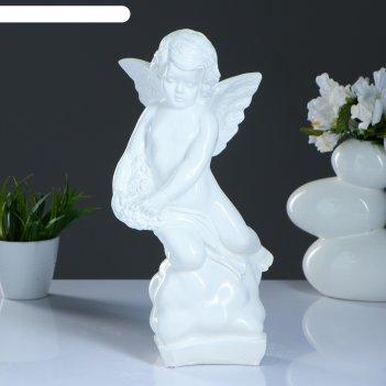 Статуэтка ангел на облаке большая, белая