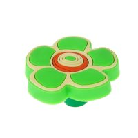 Ручка кнопка детская kid 024, цветочек 2, резиновая, зеленая