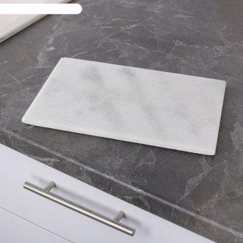 Разделочная доска 30x20x1.5 см, белый мрамор