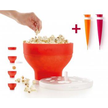Набор lekue:форма для попкорна  (цвет:красный ) +форма  для мороженого (цв
