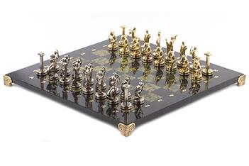 Шахматы подвиги геракла доска 360х360 мм змеевик металл