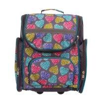 Рюкзак школьный на молнии цветные сердца, 1 отдел, 3 наружных кармана, сер