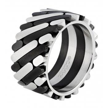 Кольцо zippo, серебристо-чёрное, нержавеющая сталь, 1,2x0,25 см, диаметр 2