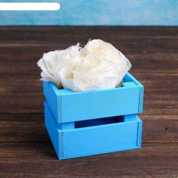 Ящик-кашпо двушка, сердний, голубое, 11х12х9см