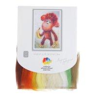 Набор для валяния (живопись цветной шерстью) обезьянка 21x29,7см (а4)