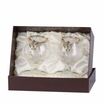 Набор из двух бокалов для коньяка с дв.золотой обводкой(накладка лилия лат