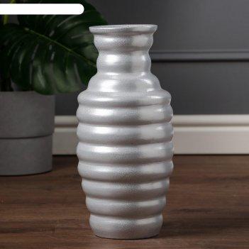Ваза напольная улик, антика, светло-серебристая, 40 см, керамика