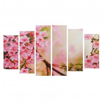Картина модульная на подрамнике цветы сакуры 2-25*57,5; 2-25*74,5; 2-25*84