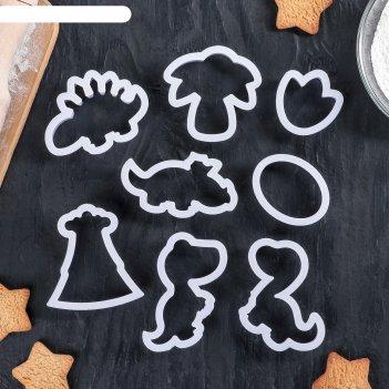Набор форм для вырезания печенья хищные динозавры, 8 шт