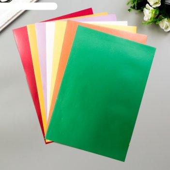 Самоклеющаяся бумага перламутровые краски мелованная а4, набор 8шт,190 гр/
