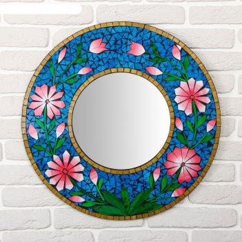 Панно зеркальное цветы 60х1х60 см