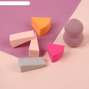 Набор спонжей для нанесения косметики, 6 шт, цвет микс