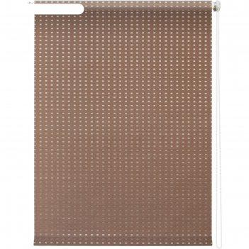 Рулонная штора «плаза», 160х175 см, цвет коричневый