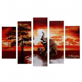 Модульная картина слоны (2-23х52; 2-24х70; 1-24х80) 120х80см