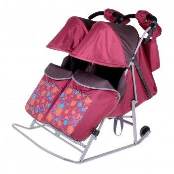 Санки-коляска для двойни кружочки, цвет бордовый