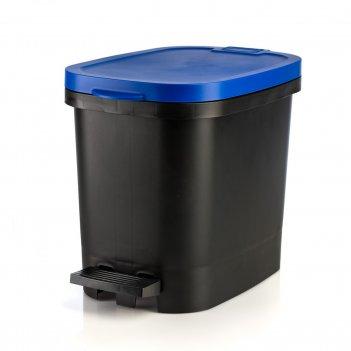 Мусорный бак с педалью be-util 10л, черный-синий