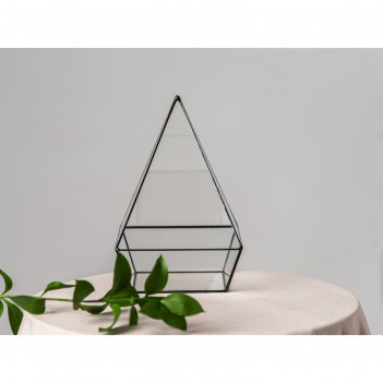 Флорариум пирамида с основанием (швы серебро)