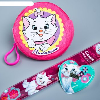Набор часы и кошелек «милашка», коты аристократы, микс