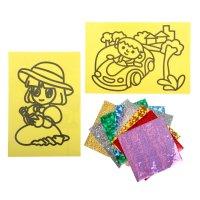Фреска фольгой - оборот раскраска мальчик и девочка