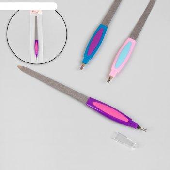 Пилка-триммер металлическая для ногтей, прорезиненная ручка, 19 см, цвет м