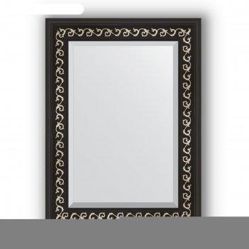 Зеркало с фацетом в багетной раме - черный ардеко 81 мм, 55 х 75 см, evofo