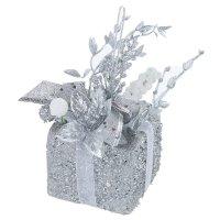 Композиция новогодняя подарок (серебряная, 8*11 см)