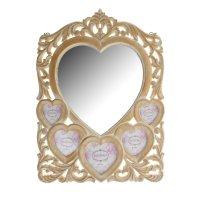 Зеркало резное сердце с фоторамками
