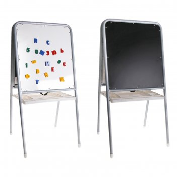 Мольберт двухсторонний с пеналом, цвет серебристый. в комплект входят букв