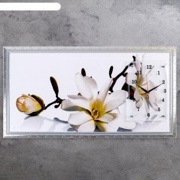 Часы-картина настенные ветка с цветами и почками, 50х100 см