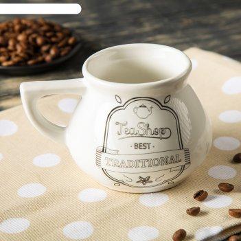 Чашка чайная, белая, глазурь, 0,3 л, микс