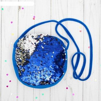 Сумка хамелеон пайетки, цвет синий-серебро