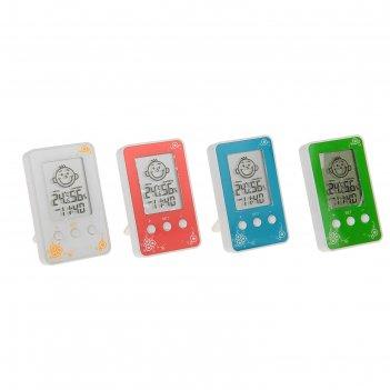 Термометр электронный, 10х6 см, указатель влажности, часы микс