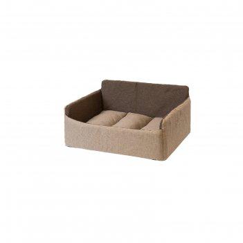 Лежанка-диван самсон, 62 х 45 х 28 см, рогожка/синтепух, бежево-серая