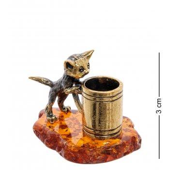 Am-2225 фигурка котик с кружкой (латунь, янтарь)