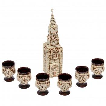 Штоф с рюмками кремль шамот, набор 7 предметов 1,3 л/ 0,05 л
