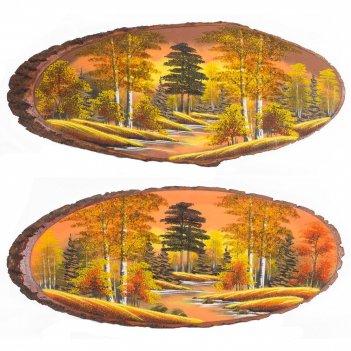 Панно на срезе дерева осень янтарная горизонтальное 90-95 см