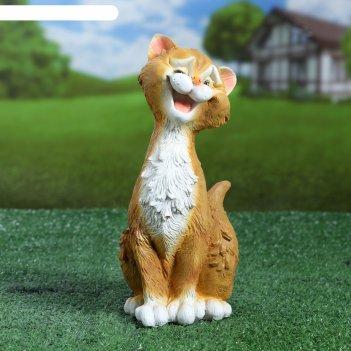 Садовая фигура забавный рыжий кот 11х14х25см