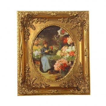Картина дама с цветами полотно-20*25 см.багет-36...
