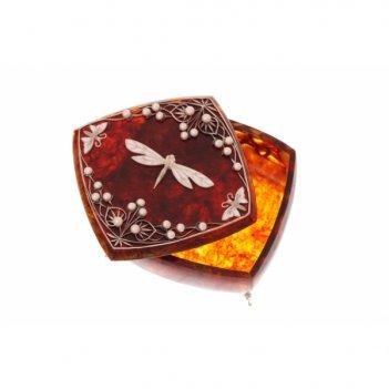 Шкатулка стрекоза с жемчугом
