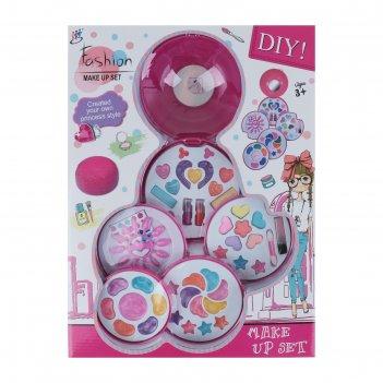 Набор для девочек большой круг ( 28 блесков для губ, 12 пласт ногтей, 8 те