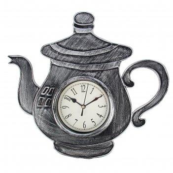 Часы настенные, серия: кухня, чайник с ручкой, хром с напылением, 31х33 см