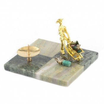Подсвечник шахматный офиокальцит змеевик 100х100х40 мм 300 гр.
