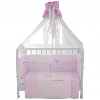 Комплект в кроватку «белые кудряшки», 7 предметов, цвет розовый