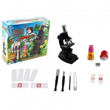 Набор биолога 14 предметов: микроскоп, калейдоскоп, телескоп, слайды(4шт.)
