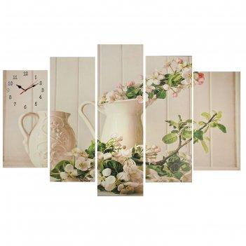 Часы настенные модульные «ваза с цветами», 80 x 140 см