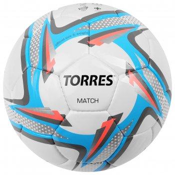 Мяч футбольный torres match р.4, пу, бело-серо-голубой